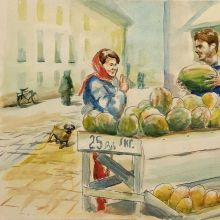 """Sell watermelon"",""Продам арбуз"",б., акварель, 40Х60, 2019, автор Базаров Михаил"
